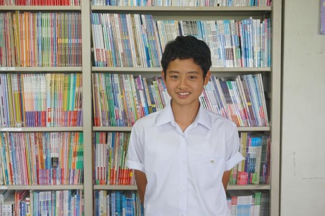 ▲英語研究室で福田さん