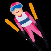 冬季オリンピックのイラスト「スキージャンプ」